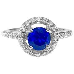 Vintage 1.45 Carat Blue Sapphire Diamond Ring