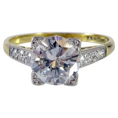 Vintage 1.47 Carat Diamond Solitaire Ring with Diamond Shoulders