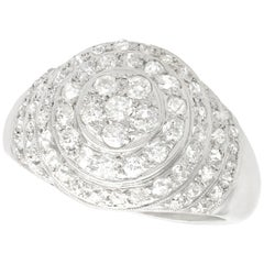 Vintage 1.48 Carat Diamond Platinum Bombe Cocktail Ring
