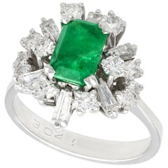 Vintage 1.48 Carat Emerald and 1.08 Carat Diamond White Gold Cluster Ring