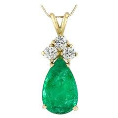 Vintage 14k Gold 5.10ct GIA Pear Emerald & Diamond Tear Drop Pendant Necklace