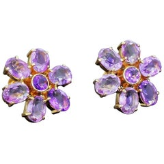 Vintage 14k Gold Amethyst Floral Flower Cluster Earrings 12 Carats 11.3 Grams