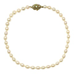 Vintage 14k Gold and Cultured Pearl Necklace with Opal Pendant