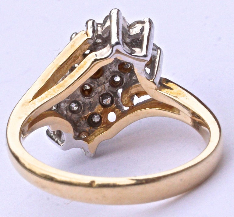 Vintage 14K Gold And Pave Cluster Diamond Ring For Sale At