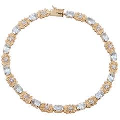 Vintage 14K Gold Aquamarine Bracelet 16.5 cm