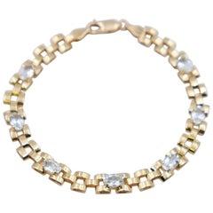 Vintage 14K Gold Aquamarine Bracelet 18 cm
