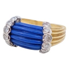 Vintage 14K Gold Carved Lapis Lazuli Diamonds Ring size 4.5