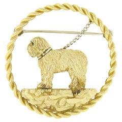 Vintage 14k Gold Detailed Textured Maltese Dog w/ Leash Circle Frame Pin Brooch