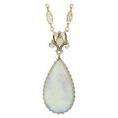 Vintage 14K Gold GIA Large Teardrop Fiery Opal & Diamond Pendant w/ Fancy Chain
