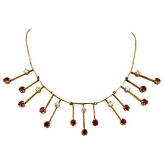 Vintage 14 Karat Gold Ladies Necklace with Rubies and Diamonds, Italy, 1950s
