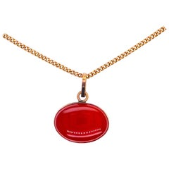 Vintage 14K Pendant in 14k Gold Chain with Orange East/West Carnelian Pendant