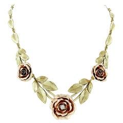 Vintage 14K Rose and Green Gold Rose Flower Diamond Leaves Statement Necklace