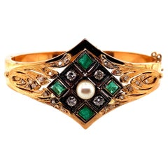 Vintage 14K Rose Gold Bangle Bracelet with Emeralds and Diamonds and Pearl