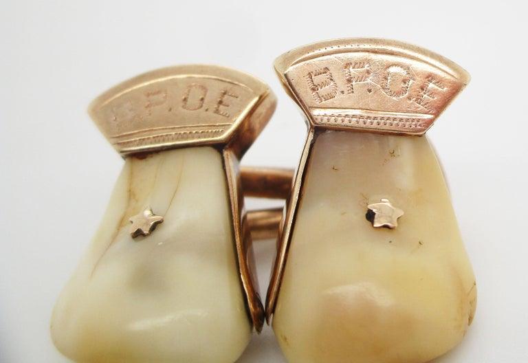 Art Deco Vintage 14 Karat Rose Gold Elk Tooth Order of Elks B.P.O.E. Cufflinks For Sale