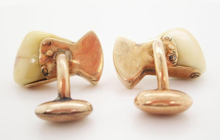 Vintage 14 Karat Rose Gold Elk Tooth Order of Elks B.P.O.E. Cufflinks In Good Condition For Sale In Lexington, KY
