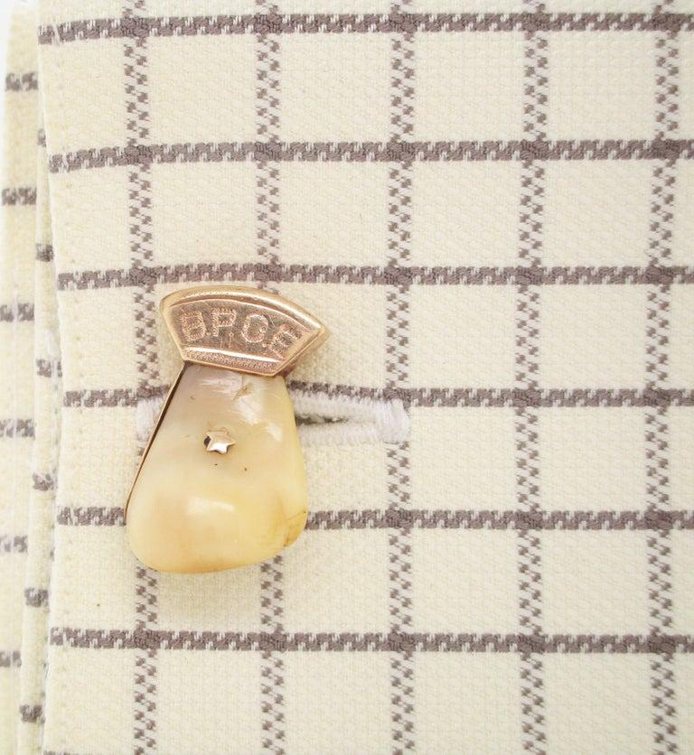 Men's Vintage 14 Karat Rose Gold Elk Tooth Order of Elks B.P.O.E. Cufflinks For Sale