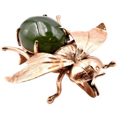 Vintage 14 Karat Rose Gold Jade Fly Pin
