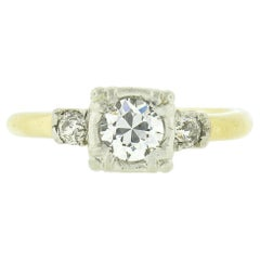 Vintage 14k Two Tone Gold 0.50ct Old European Diamond Solitaire Engagement Ring