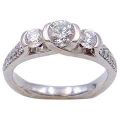 Vintage 14K White Gold 0.75 ct Diamond Ring size 5.25