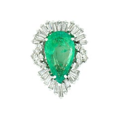 Vintage 14k White Gold 4.88ct GIA Pear Emerald Diamond Large Wave Ballerina Ring