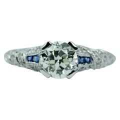 Vintage 14k White Gold European Cut Center W/ Sapphire & Single Cut Diamond Ring
