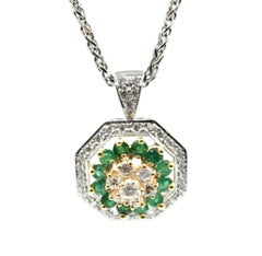 Vintage 14 Karat Yellow and White Gold Diamond and Emerald Pendant Necklace