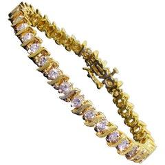 Vintage 14k Yellow Gold 2+Carat Diamond Tennis S Wave Line Bracelet Well Made