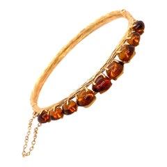 Vintage 14k Yellow Gold Amber Bangle Bracelet