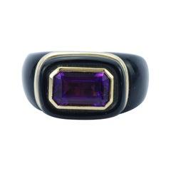 Vintage 14K Yellow Gold Amethyst & Black Onyx Horizontal Ring