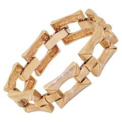 Vintage 14K Yellow Gold Bamboo Motif Link Bracelet