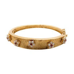 Vintage 14k Yellow Gold Bangle Bracelet with Ruby and Pearl Flowers