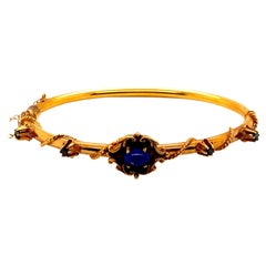 Vintage 14K Yellow Gold Bangle with Lapis and Sapphires