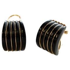 Vintage 14k Yellow Gold & Black Onyx Huggie Hoop Earring