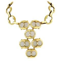 Vintage 14k Yellow Gold Camphor Glass .65ct Diamond Statement Bib Chain Necklace