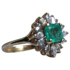 Vintage 14K Yellow Gold Diamond and Emerald Halo Ring - 2.12ct.
