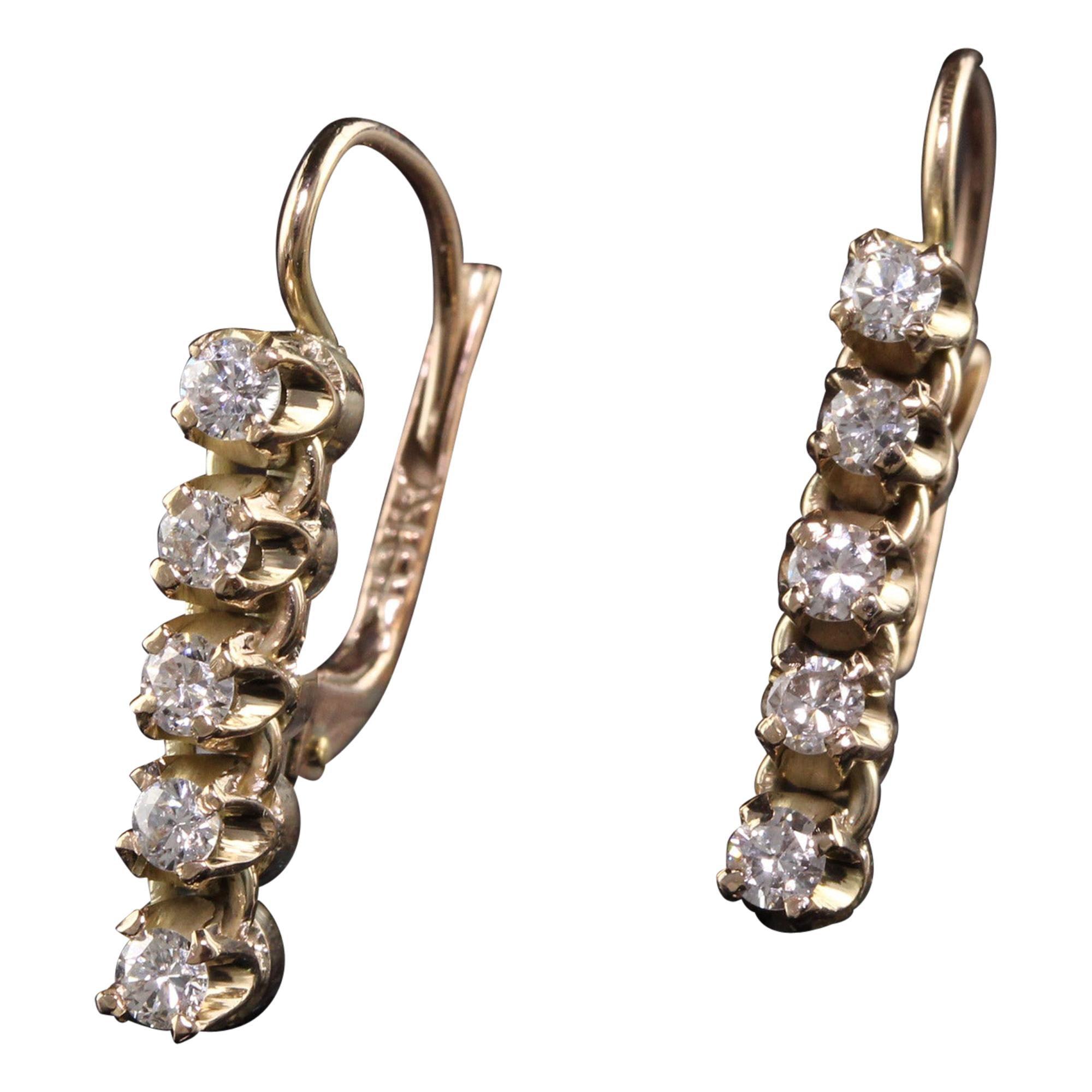 Vintage 14k Yellow Gold Diamond Drop Earrings