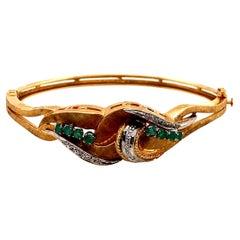 Vintage 14K Yellow Gold Emerald and Diamond Leaf Design Bangle