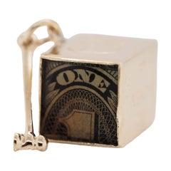Vintage 14k Yellow Gold in Emergency Break Glass Dollar Charm Pendant