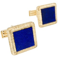 Vintage 14 Karat Yellow Gold Lapis Lazuli Cufflinks, 1960s