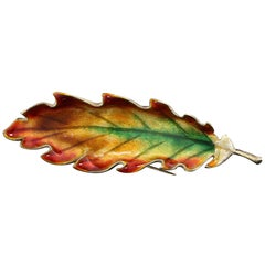 Vintage 14 Karat Yellow Gold Multi-Color Enamel Leaf Brooch