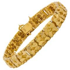 """Vintage 14 Karat Yellow Gold """"Nugget"""" Bracelet, 31.7 Grams"""