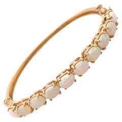 Vintage 14K Yellow Gold Opal Bangle Bracelet