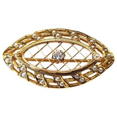 Vintage 14 Karat Gold Shield Brooch with Very Tiny Pearls and Diamond 0.08 Carat
