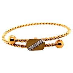 Vintage 14K Yellow Gold Slip on Bangle with Diamonds
