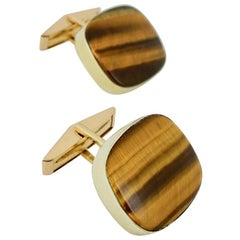 Vintage 14 Karat Yellow Gold Tigers Eye Cufflinks, Karram, 1960s