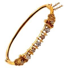 Vintage 14K Yellow Gold Victorian Reproduction Diamond Bangle Bracelet