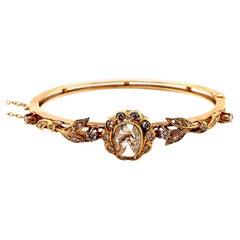 Vintage 14k Yellow Gold Victorian Reproduction Rose Cut Diamond Bangle Bracelet