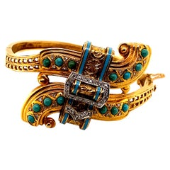 Vintage 14k Yellow Gold Wide Bypass Buckle Design with Turquoise Bangle