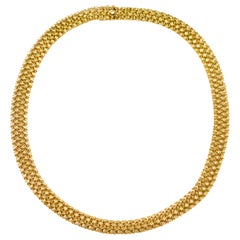 Vintage 14k Yellow Gold Woven Necklace