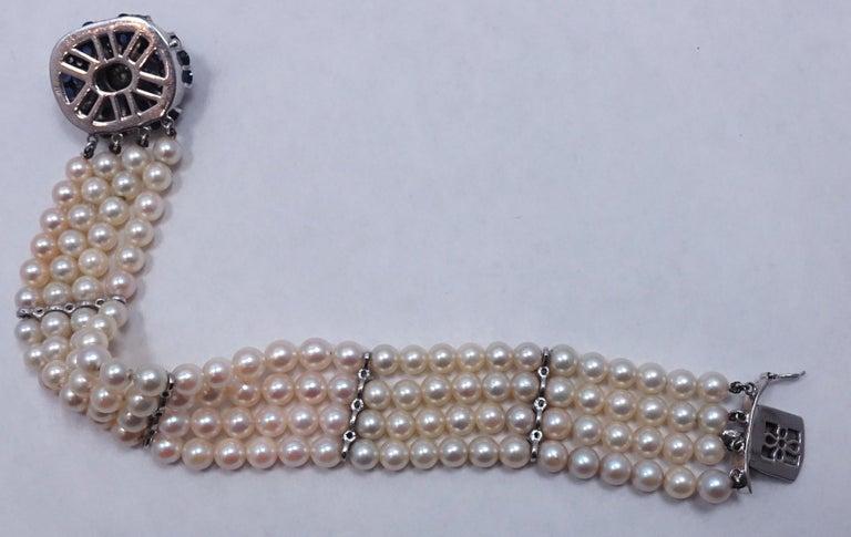 Women's or Men's Vintage 14kt Gold Diamonds, Sapphires & Pearls Bracelet For Sale